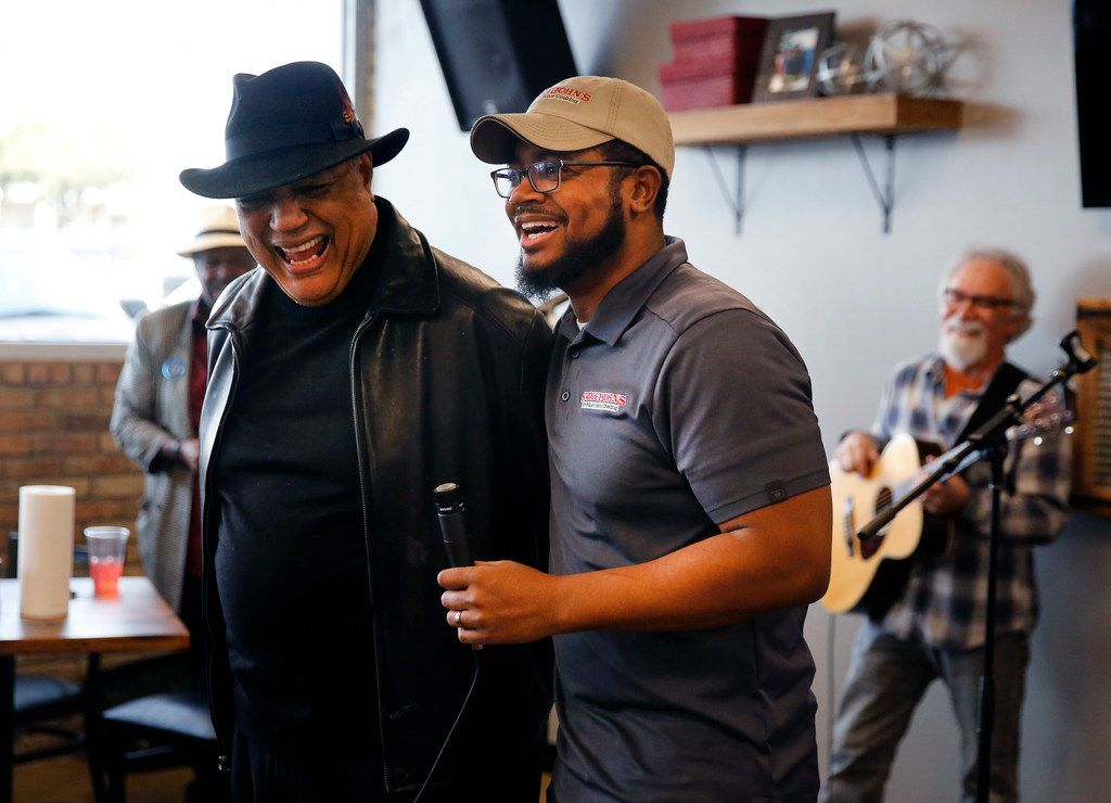 "John ""Smokey"" Reaves (left) and his son Brent Reaves welcomed folks back to a weekly Bible study at Smokey John's Bar-B-Que & Home Cooking on Mockingbird Lane in Dallas."
