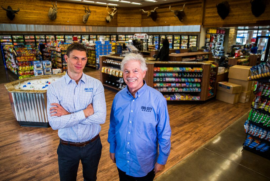 Fuel City owners Joseph Bickham, left, and John Benda at a new Fuel City location on Friday, December 16, 2016 on Haltom Road in Haltom City. (Ashley Landis/The Dallas Morning News)