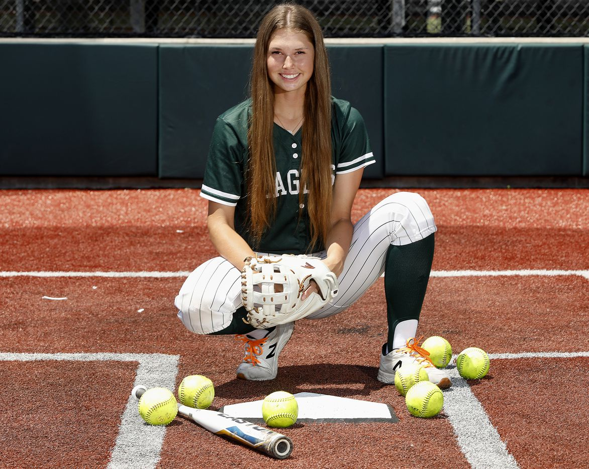 Elizabeth Moffitt of Prosper High School is the Dallas Morning News All-Area Softball Player of the Year, pictured on her home field at Prosper High School on Wednesday, June 16, 2021,.  (Stewart F. House/Special Contributor)