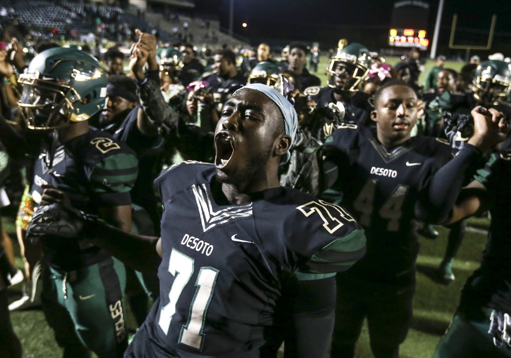 Leroy Hawkins celebrated the DeSoto Eagles' 40-21 win over Mansfield Summit in DeSoto on Oct. 26, 2018.