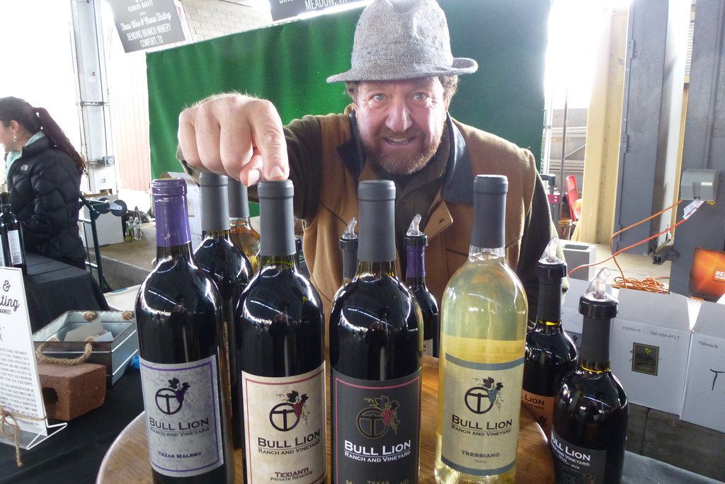 Owner Chuck Tordiglione helped pour his Bull Lion Ranch and Vineyard wines at the Dallas Farmers Market Texas Wine & Cheese Tasting.
