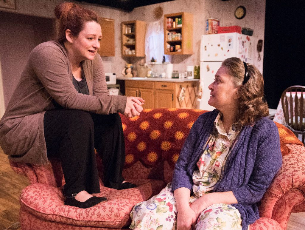 Jessica Cavanagh (left) in the role of Jesse Cates and Amber Devlin, in the role of Mama (Thelma Cates) were honored for outstanding performance by an ensemble cast for their work in  Marsha Norman's  'night, Mother,  presented by  Echo Theatre at the Bath House Cultural Center.