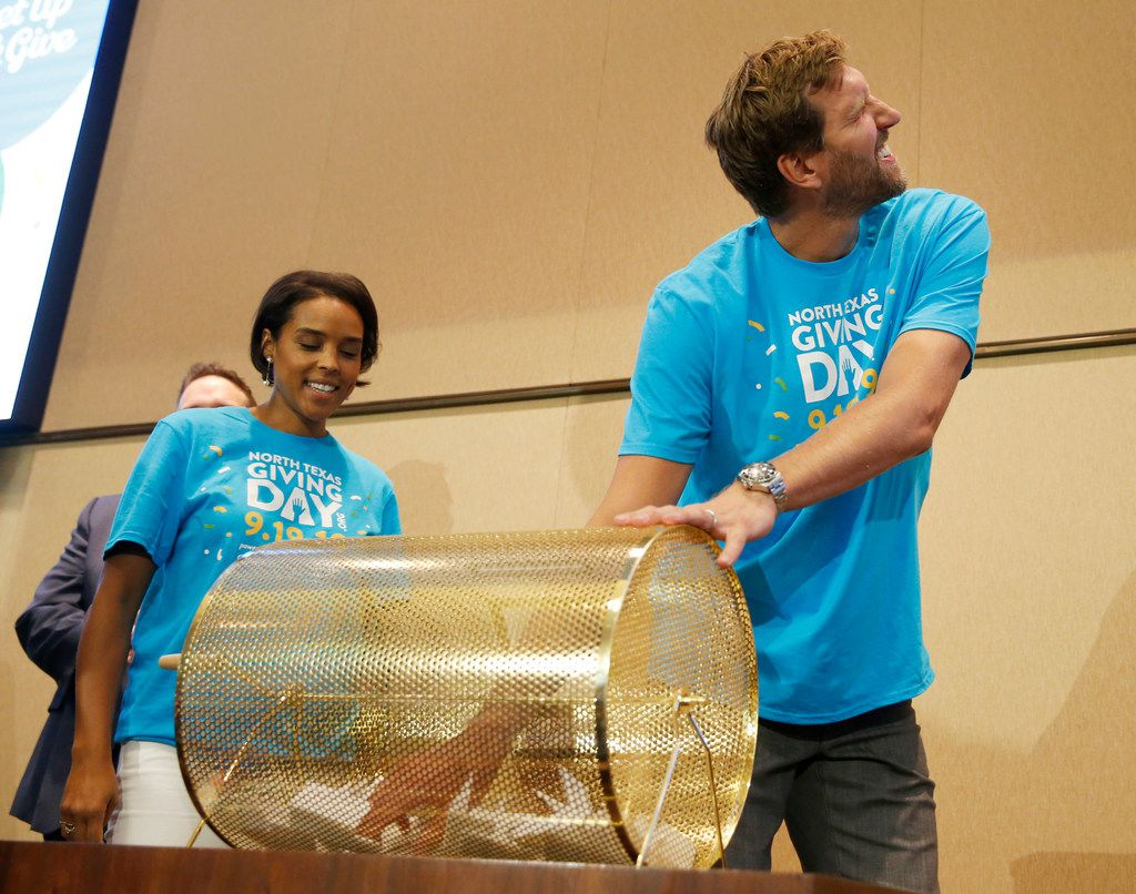 """""""I'm here to tell you guys that all you nonprofits do amazing work and make North Texas a better place for us to live in,"""" Dallas Mavericks great Dirk Nowitzki, shown with his wife, Jessica), said of the several thousand nonprofits that will benefit from this year's North Texas Giving Day. The Nowitzkis are honorary co-chairs of this year's event."""