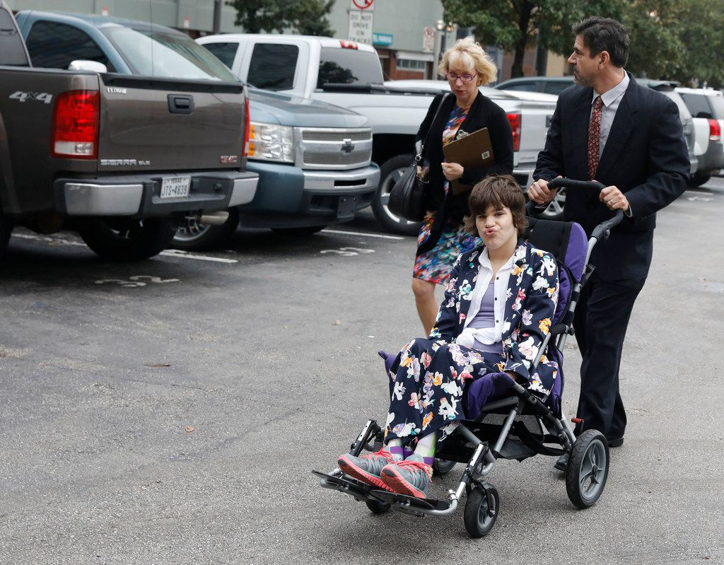 Christy and Mark Zartler take their daughter, Kara, with them to probate court in downtown Dallas to try to remain her legal guardians. Judge Brenda Hull Thompson ruled in favor of the parents.