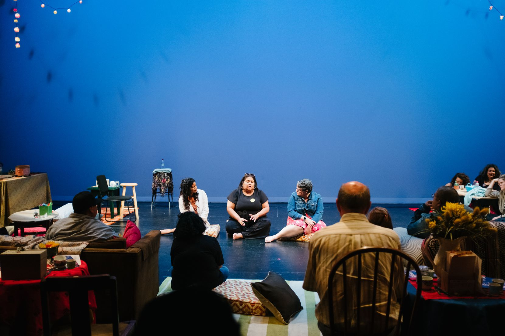 "From left to right: director Kendra Ware, Virginia Grise, and scenic designer Tara Houston in a post-show discussion of ""Your Healing is Killing Me,"" part of Latinidades: A Festival of Solo Shows, on August 2019 at the Latino Cultural Center."