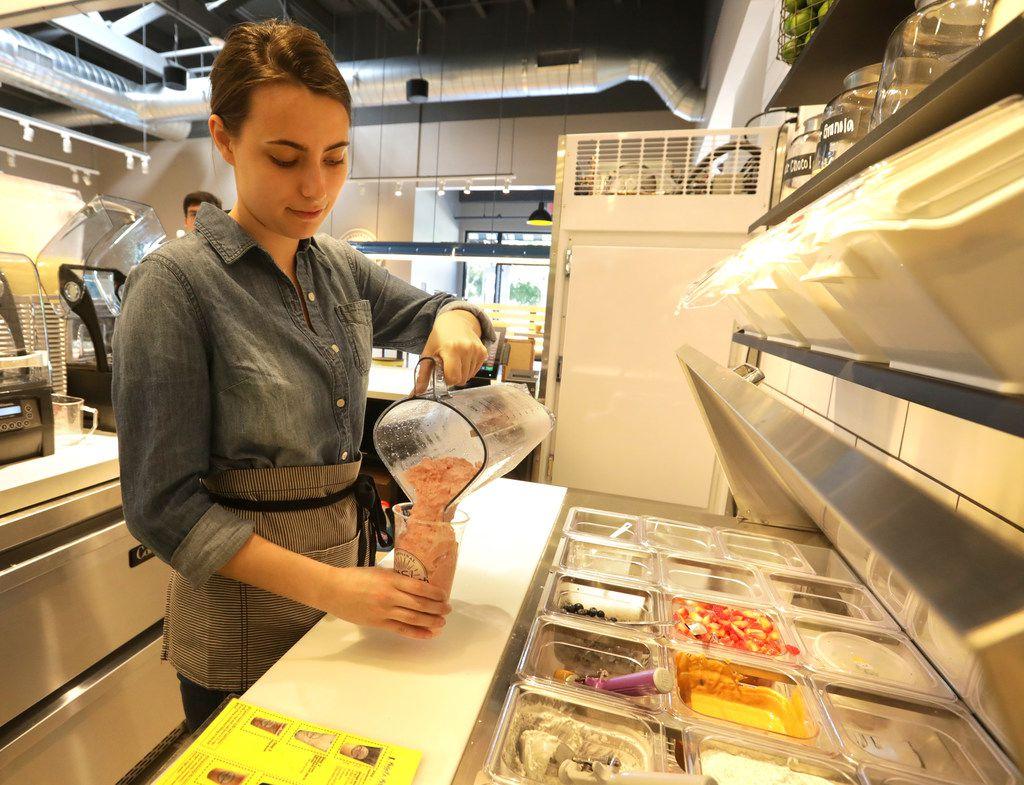 Katherine Goodrich prepares a drink at Original Chop Shop in Plano, TX, on Jun. 13, 2019. (Jason Janik/Special Contributor)