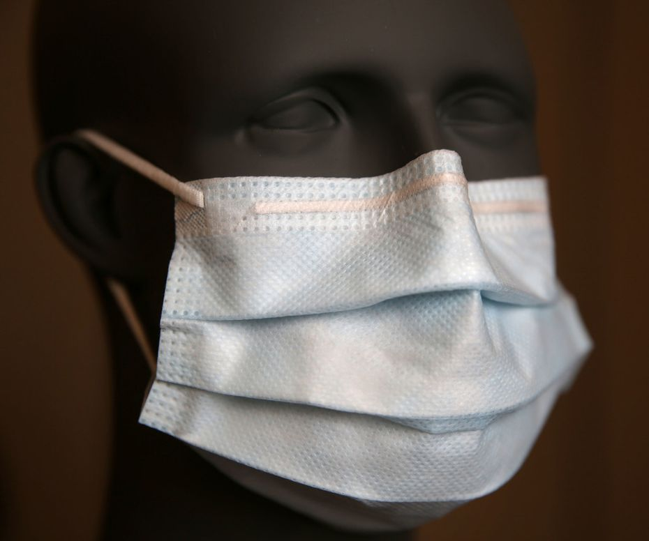 A surgical ear loop mask photographed at the Prestige Ameritech manufacturing plant in North Richland Hills.