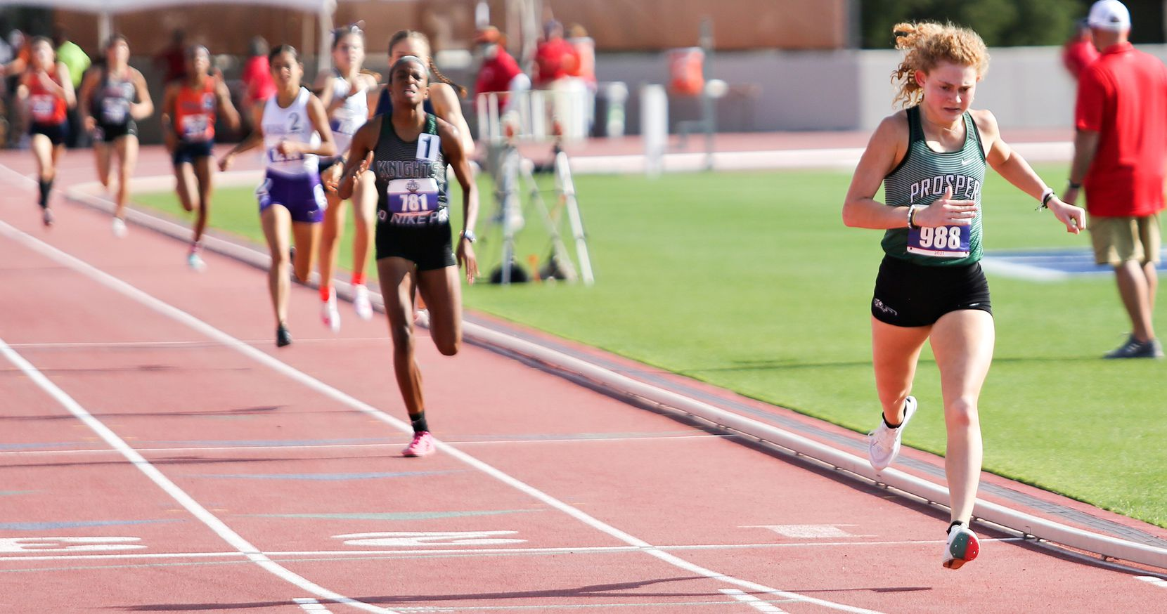 Prosper's Aubrey O'Connell places first in the 6A girls 800 meter run during the UIL state track meet at the Mike A. Myers Stadium, at the University of Texas on May 8, 2021 in Austin, Texas.
