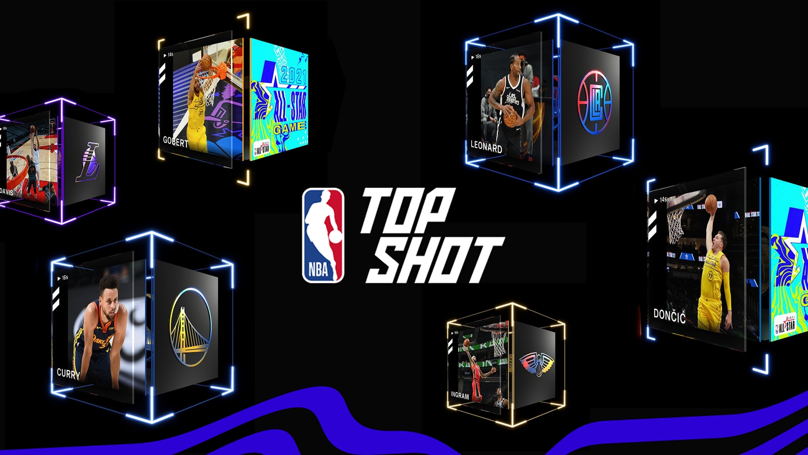 An NBA Top Shot moment featuring Luka Doncic (far right) recently sold for more than $20,000. Each Top Shot moment comes in the form of a digital cube that includes the highlight and a unique serial number that cannot be replicated or destroyed.
