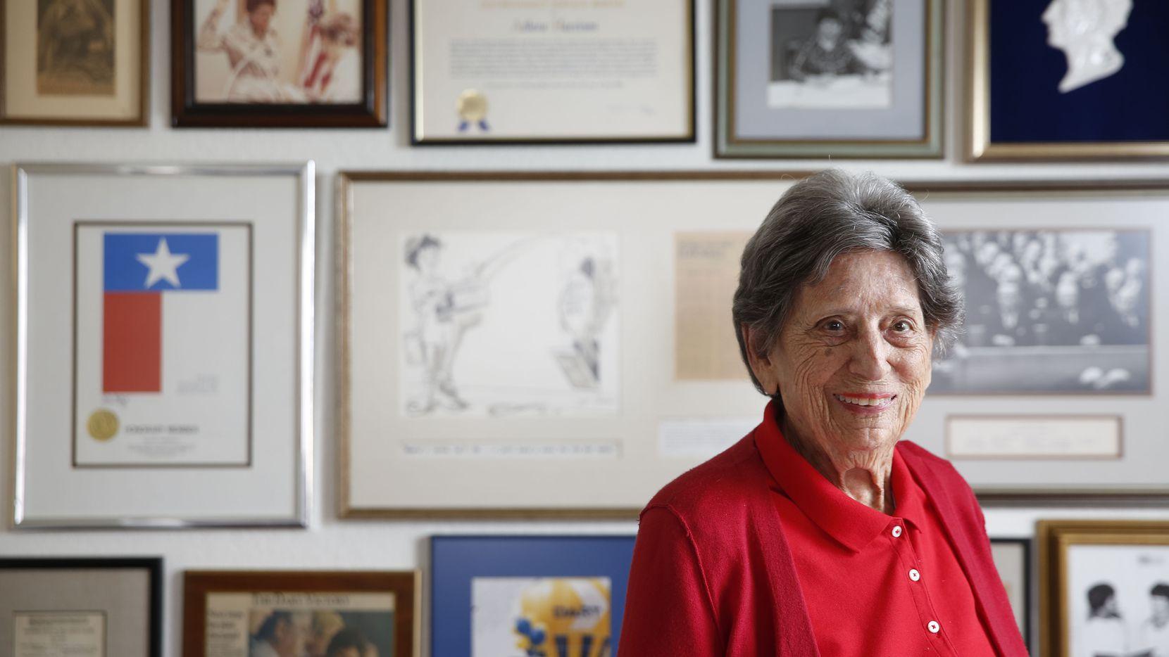 Adlene Harrison, Dallas' first female mayor, at her home in Dallas.