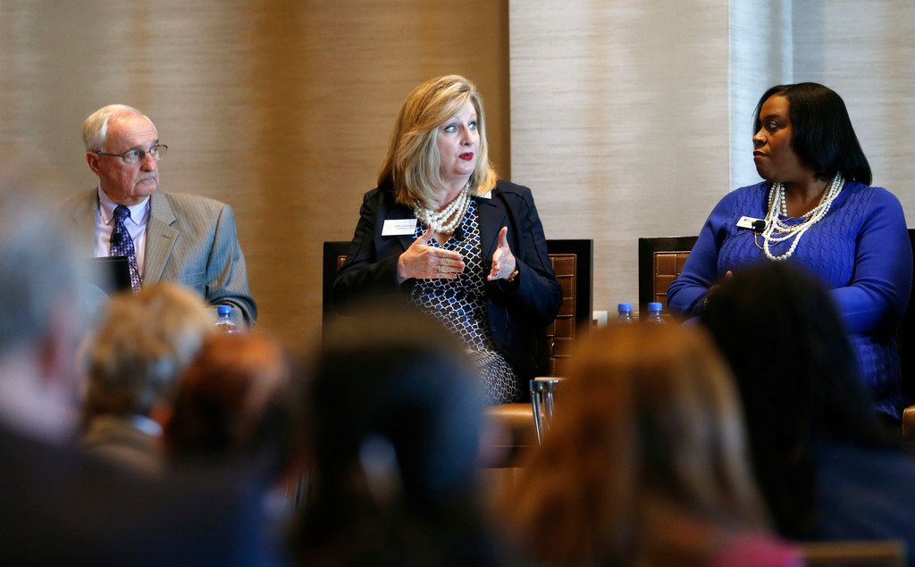 """Trisha Cunningham, president and CEO of the North Texas Food Bank, speaks during the 2017 Cause-Minded Conversation with a spotlight on Collin County and """"The Need in Our Backyard"""" at Omni Frisco Hotel at The Star in Frisco on Monday. Fellow panelists include Mike Simpson (left), CEO of the Boys and Girls Clubs of Collin County, and Nicole Bursey (right), executive director of Frisco Family Services."""