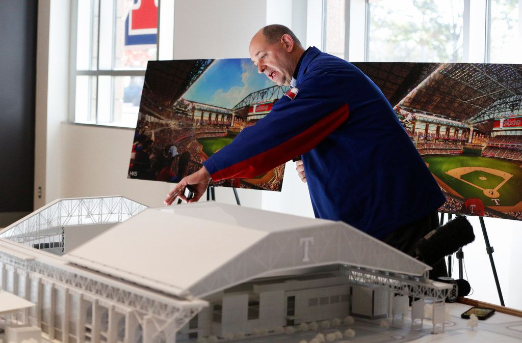 Rob Matwick, Rangers Executive Vice President of Business Operations, unveils a 3D model of Globe Life Field, which is currently under construction, on Tuesday, Nov. 27, 2018, in Arlington. (Ryan Michalesko/The Dallas Morning News)