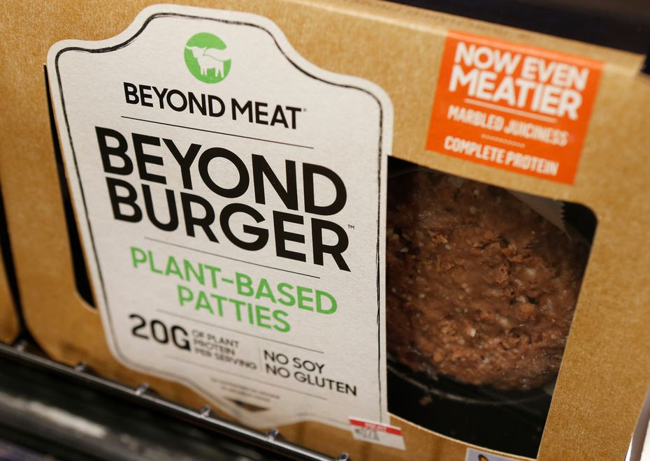 A meatless burger patty called Beyond Burger made by Beyond Meat.