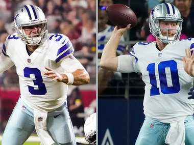 A solid performance from Cooper Rush (right) has forced the Cowboys to reassess the backup quarterback position — which, until Saturday's 20-14 loss to the Houston Texans, was believed to belong to Garrett Gilbert (left). (Photos: Smiley Pool, The Dallas Morning News)