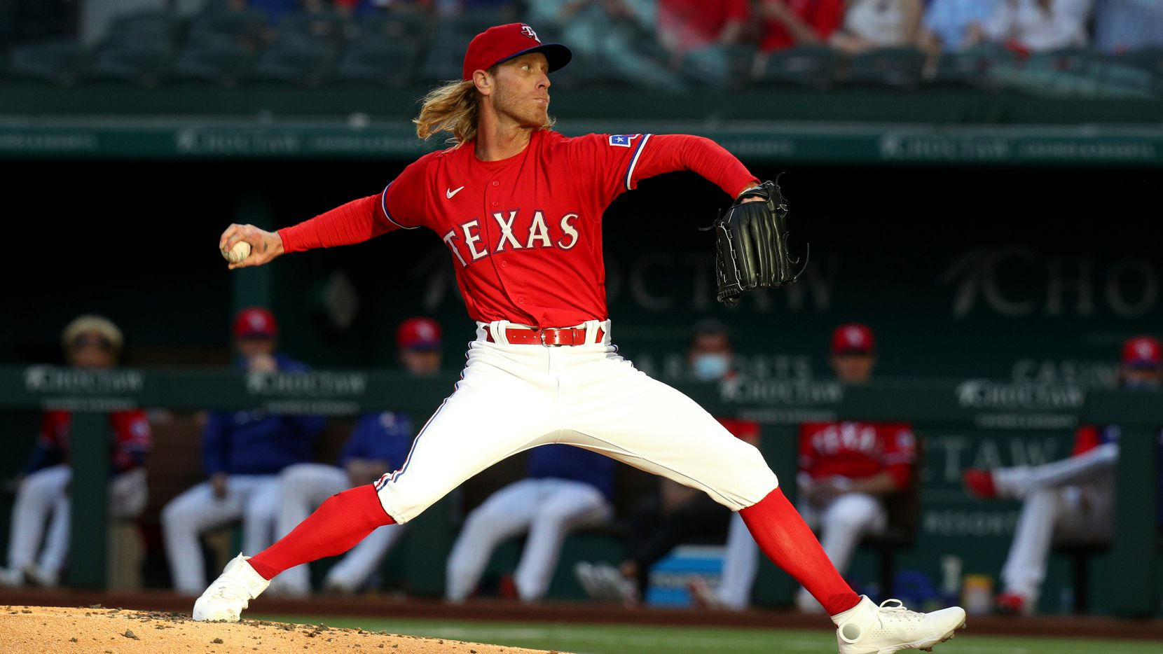 Texas Rangers starting pitcher Mike Foltynewicz throws during the first inning against the Seattle Mariners in a baseball game Friday, May 7, 2021, in Arlington, Texas. (AP Photo/Richard W. Rodriguez)