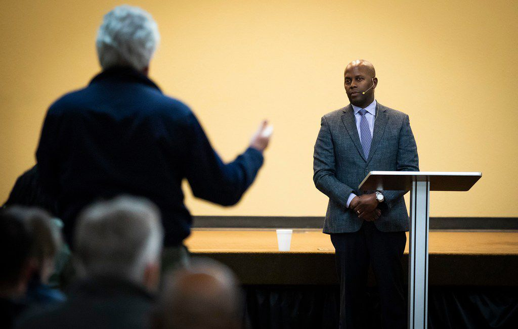 Dr. Brian H. Williams, chairman of the Dallas Citizens Police Review Board, takes a question from the audience during a Citizens Police Review Board town hall meeting at Highland Oaks Church of Christ on Thursday, Jan. 3, 2019, in Dallas.