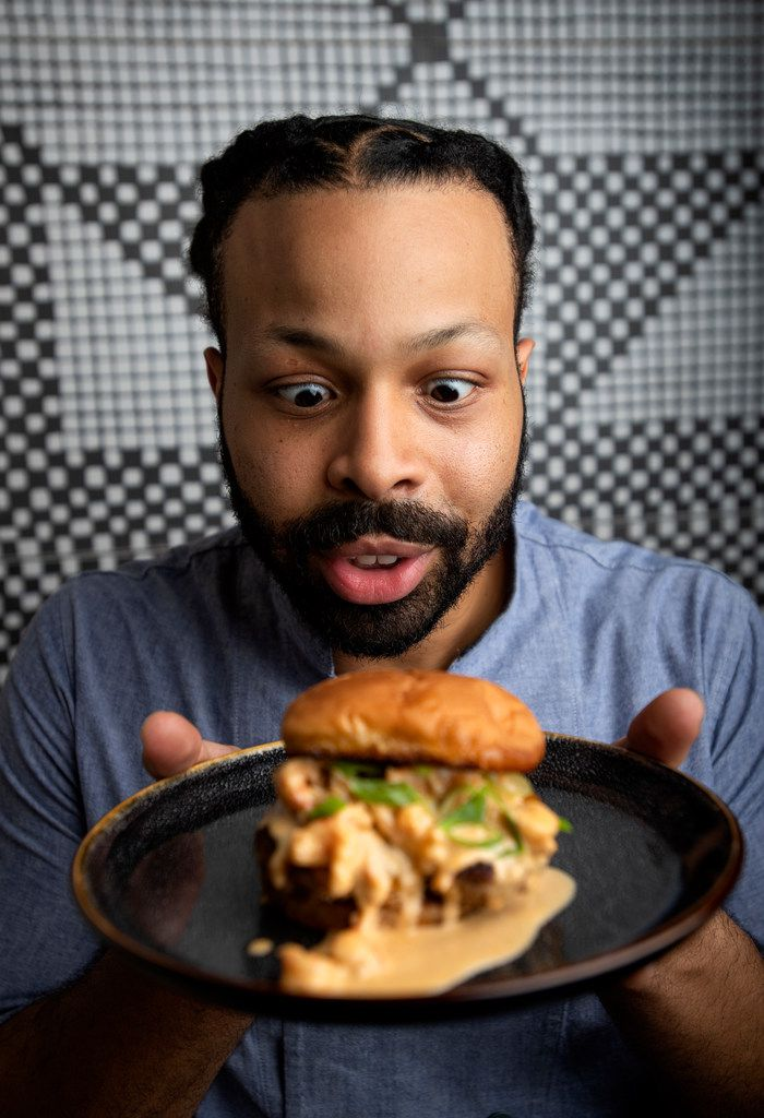 Private chef Kenneth Temple, who recently moved to Dallas from New Orleans, shows off his crawfish turkey cheeseburger.