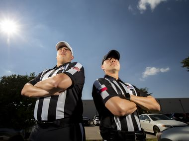 Rickey Herron II, President of the Dallas Football Officials Association, left, and Xavier Velazquez, Vice President of the DFOA, pose for a photo outside of the Advantage Sports Complex in Carrollton, Saturday, August 22, 2020. There is a shortage of officials for high school football.