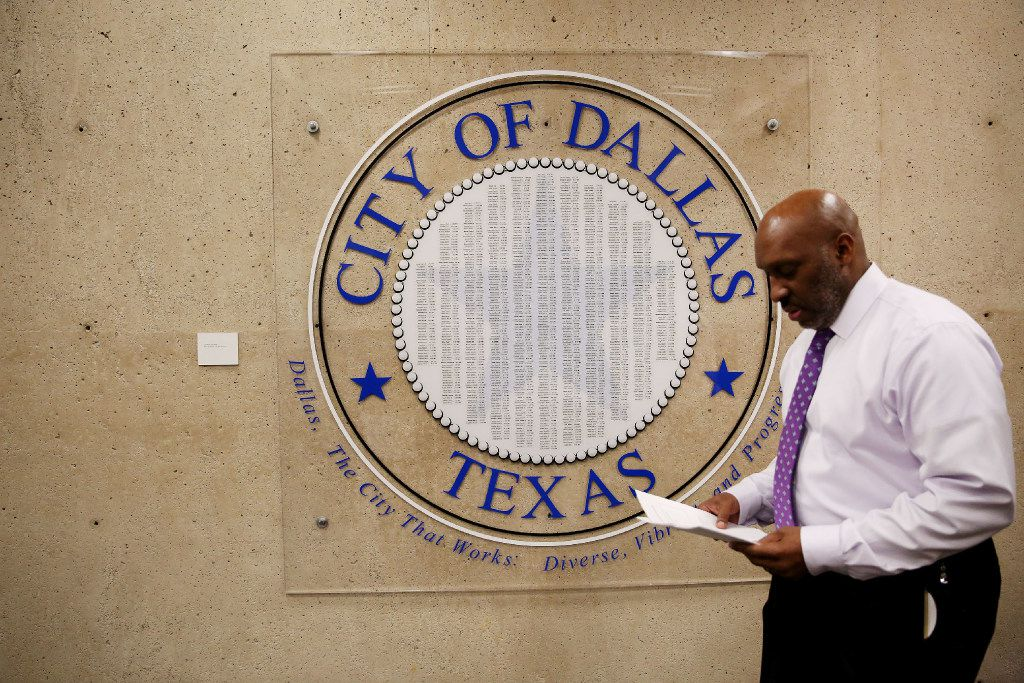 Dallas city manager T.C. Broadnax returns to his office in Dallas City Hall on Feb. 1.