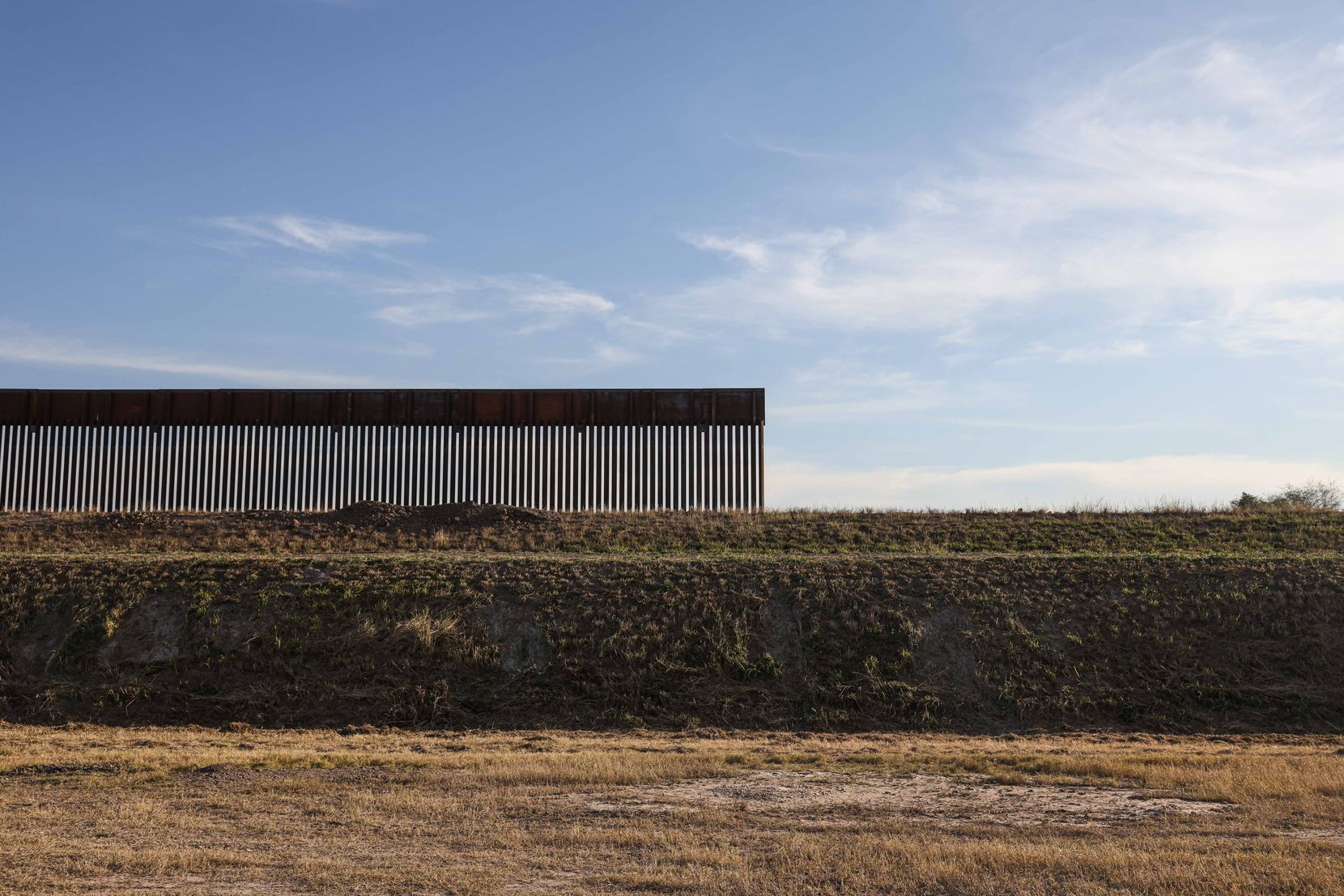New section of the wall on the border with Mexico continues in contruction under the administration of President Donald Trump in Pharr, Texas on Wednesday, January 13, 2021.