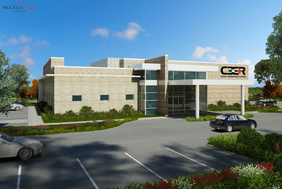 A rendering of the Code 3 ER and Urgent Care facility that is being planned on the property of the Dallas-Fort Worth International Airport. The site is being designed by the McCalla Design Group in Allen, Texas.