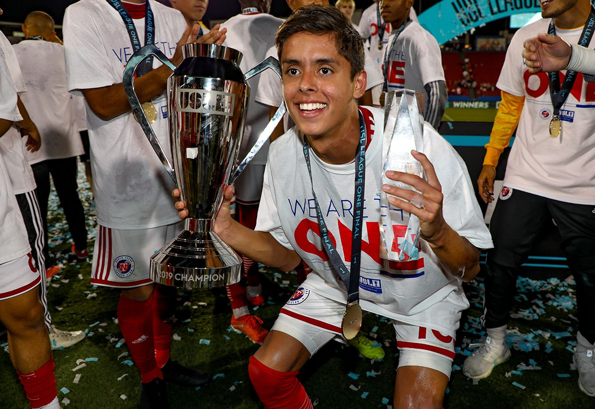 USL-1 Final MVP Arturo Rodriguez poses with the MVP and Championship trophies following the USL League One Final won by North Texas SC, October 19, 2019.