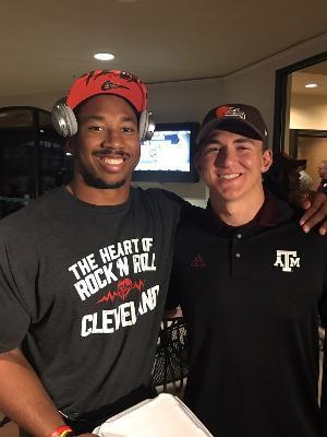 Luke Laufenberg (right) and Myles Garrett (left) at Garrett's NFL draft part in 2017.