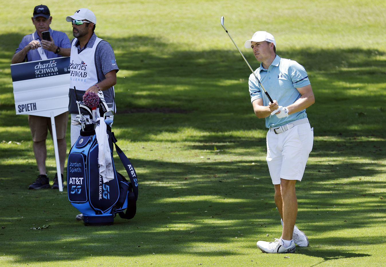 Golfer Jordan Spieth watches his shot from the No. 11 fairway during his Charles Schwab Challenge Colonial Pro-Am round at the Colonial Country Club in Fort Worth, Wednesday, May 26, 2021. (Tom Fox/The Dallas Morning News)
