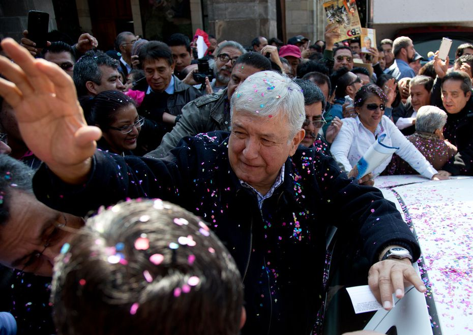 National Regeneration Movement (Morena) presidential hopeful Andrés Manuel López Obrador greeted supporters during a pre-campaign rally in Mexico City on Dec. 15, 2017.