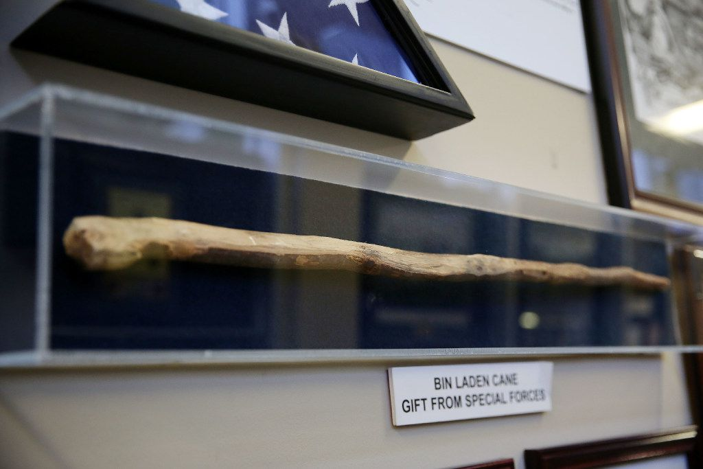 A gift by United States Special Forces cited as the cane of Osama Bin Laden among the personal artifacts of Ross Perot Sr. at The Perot Group headquarters in Plano, Texas Friday October 14, 2016. The Perot Group is in the process of moving its headquarters. The cane was retained by the forces following fighting in the Tora Bora region of Afghanistan during the war in Afghanistan. (Andy Jacobsohn/The Dallas Morning News)