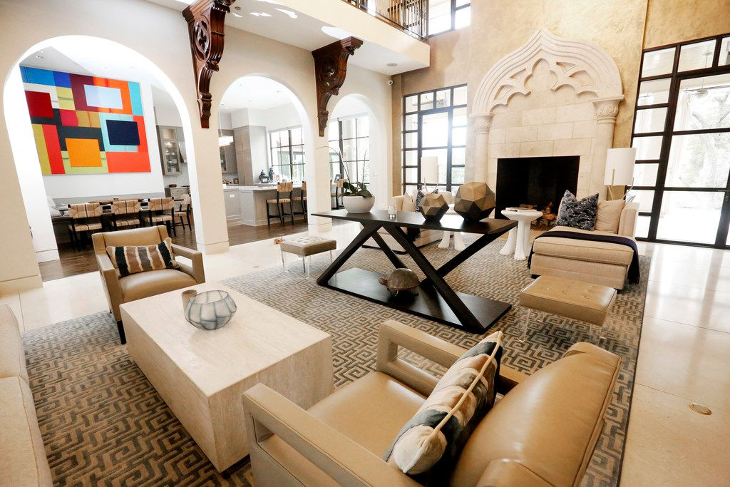 """Interior of Travis and Stephanie Hollman's home in Dallas on Thursday, Feb. 21, 2019. Stephanie is a cast member on """"The Real Housewives of Dallas"""". (Rose Baca/Staff Photographer)"""