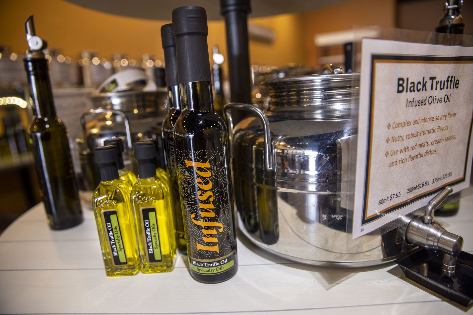 A display of infused truffle oil at Infused Oils and Vinegars in Dallas.