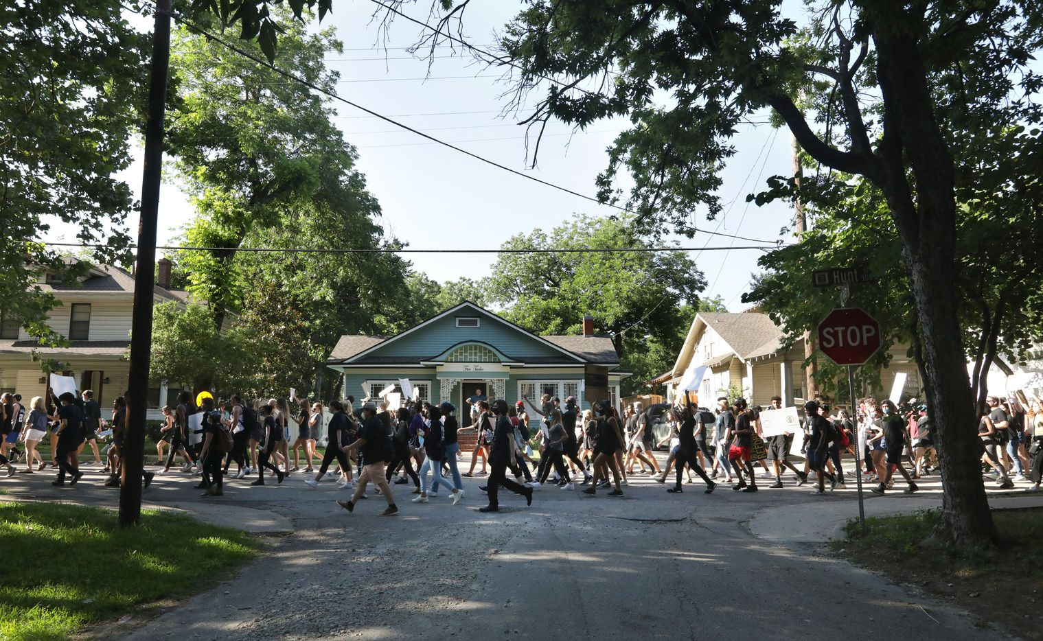 Protestors march from the historic town square back to Ron Poe Stadium in McKinney, TX, on Jun. 5, 2020.