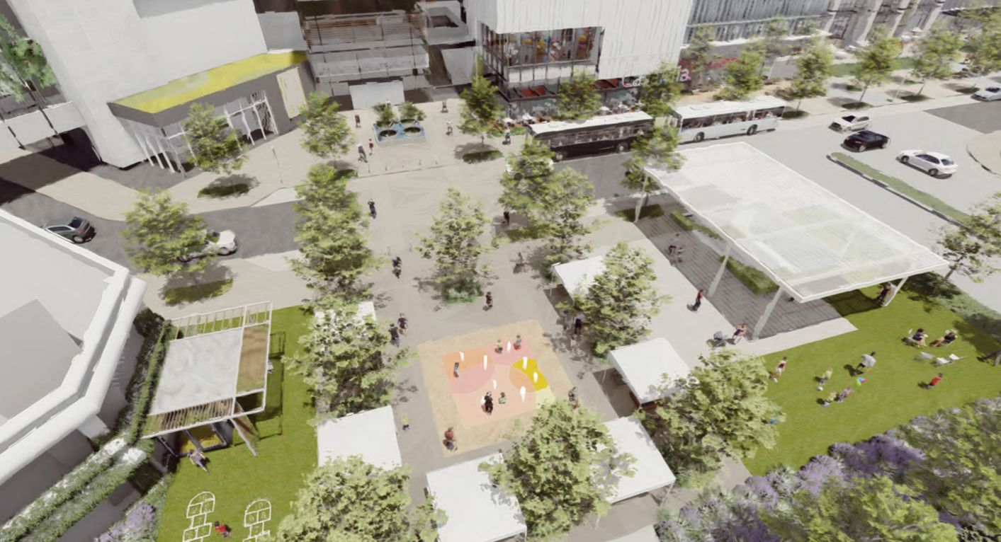 Landscaped public plazas would be added in front of the mall.