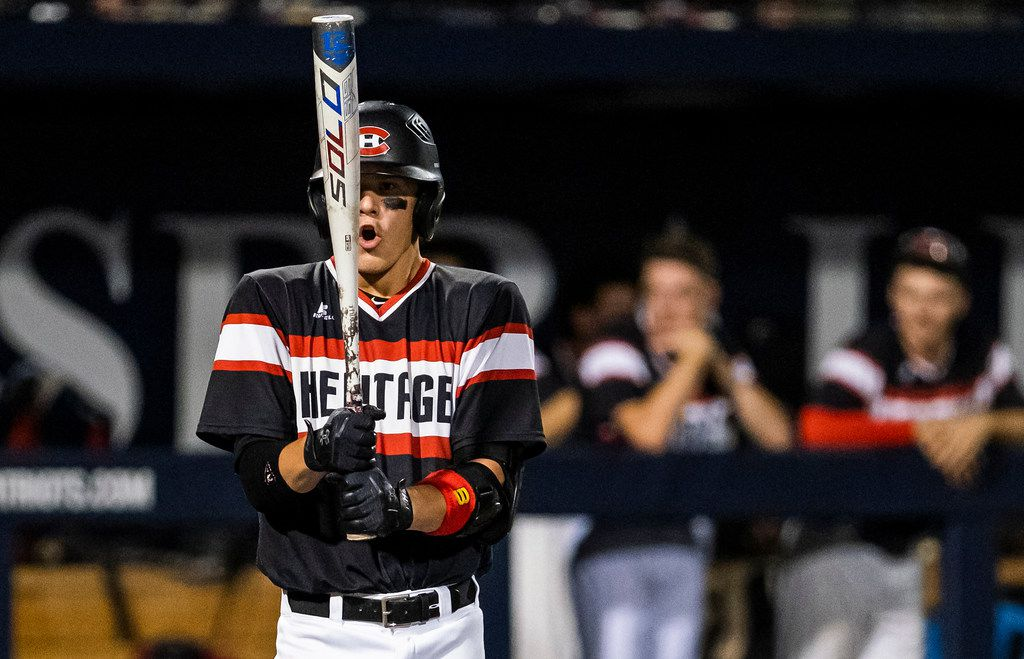 Colleyville Heritage shortstop Bobby Witt Jr. steps into the batters box during game one of a best-of-three Class 5A Region I quarterfinal baseball playoff series against the Mansfield Legacy at Dallas Baptist University on Thursday, May 16, 2019, in Dallas. (Smiley N. Pool/The Dallas Morning News)