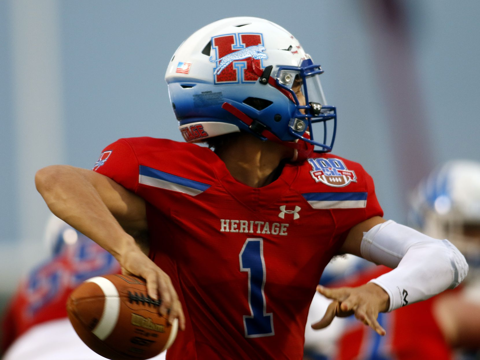 Midlothian Heritage quarterback Daelin Rader (1) looks to pass during the first quarter of their game against Lindale. The two teams played their Class 4A football game at Midlothian ISD Multipurpose Stadium in Midlothian on September 4, 2020. (Steve Hamm/ Special Contributor)