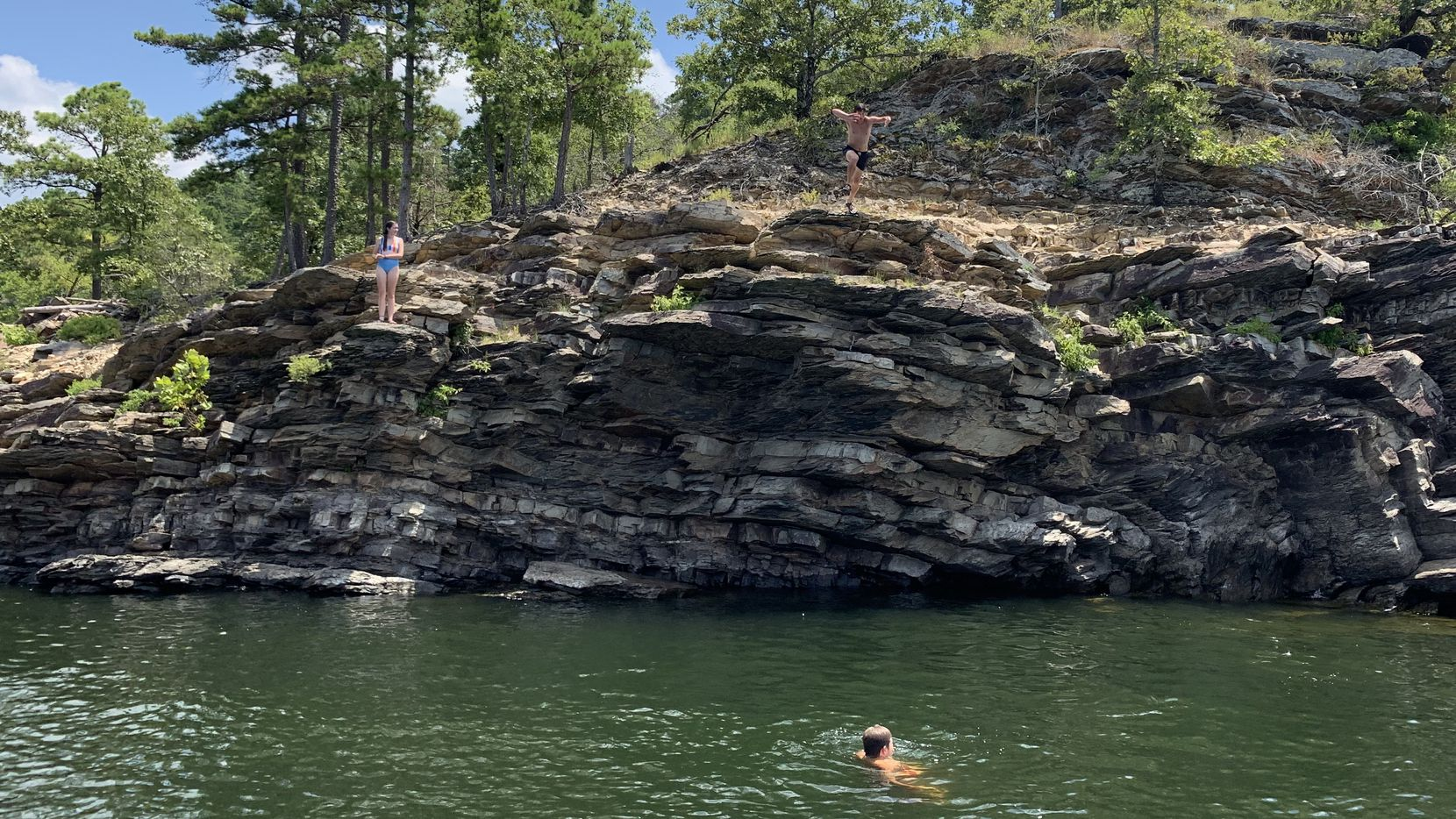 Cooper Damm went cliff-diving during a recent vacation to Beavers Bend State Park.