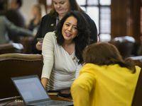La representante Victoria Neave platica con su colega Terry Meza durante la anterior Legislatura. Neave se ha convertido en una abanderada de las causas de las mujeres.