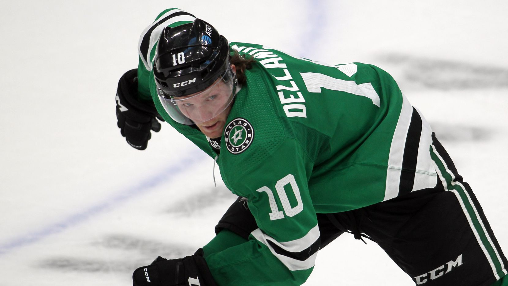 Dallas Stars forward Ty Dellandrea (10) hustles as he follows the puck during the 2nd period of their game against the Nashville Predators. The Stars prevailed, 3-2.  The two teams played their NHL game at the American Airlines Center in Dallas on January 24, 2021.