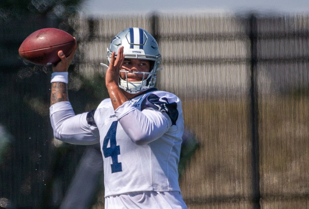 Dallas Cowboys quarterback Dak Prescott throws a pass during a practice at the Ford Center at The Star in Frisco, Texas on Monday, Sep. 2, 2019. (Lynda M. Gonzalez/The Dallas Morning News)