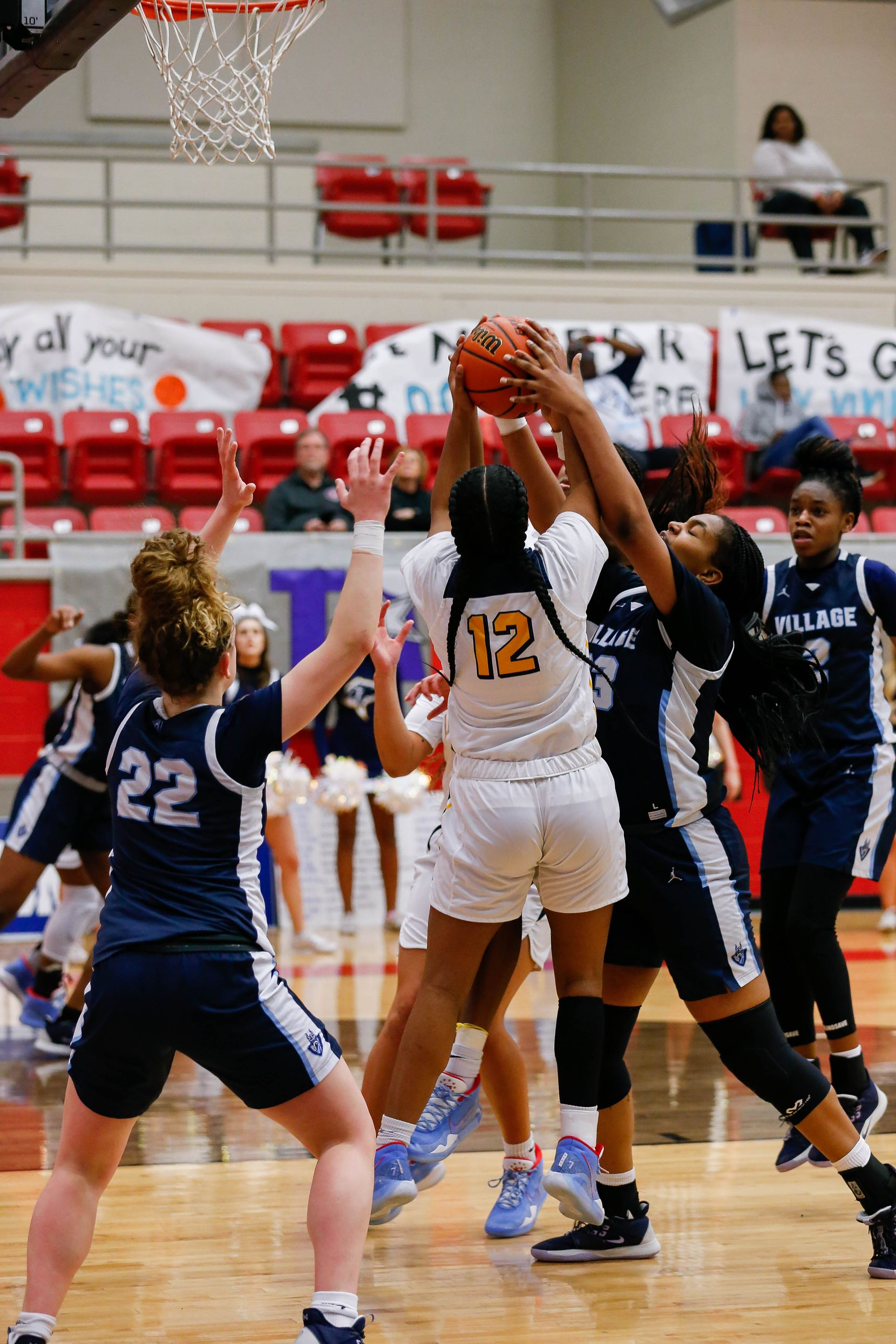Players from Plano Prestonwood Christian and the Village School fight for the ball during the second half of a TAPPS Class 6A girls basketball state championship game on Feb. 28, 2020 in West. Prestonwood lost 75-48.