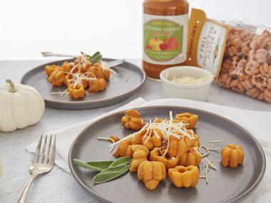 Fall Zucchette Pasta with Autumnal Harvest Creamy Pasta Sauce.
