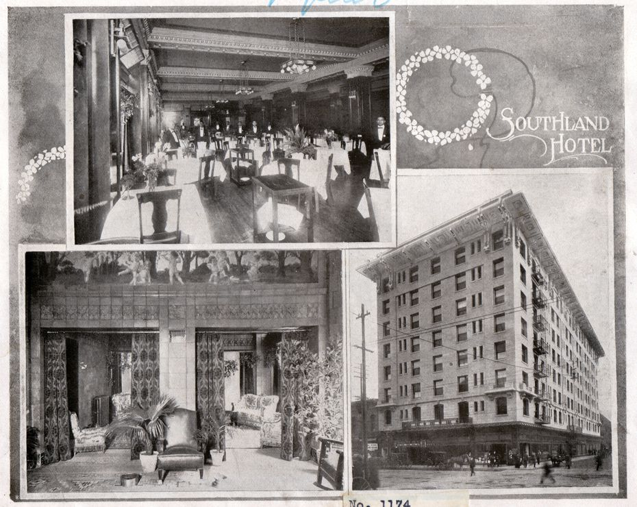 """This image of the Southland Hotel was scanned from """"DALLAS : CONVENTION CITY, 1908"""" published in 1908 by the Benevolent and Protective Order of Elks for their Grand Lodge session and Annual Reunion held that year in Dallas."""