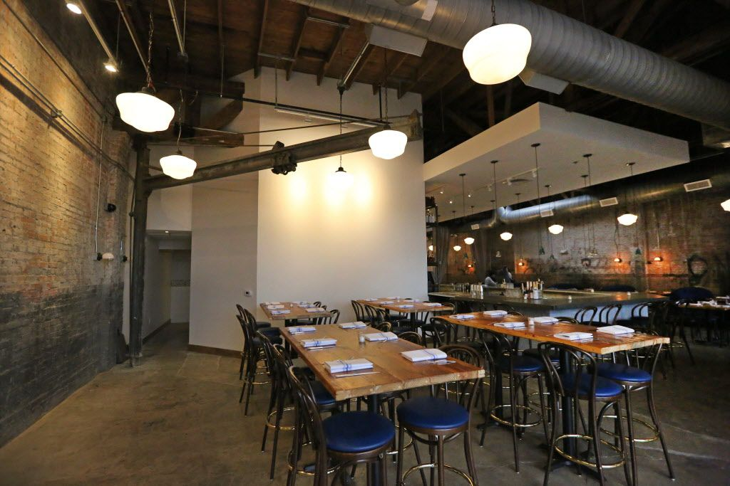 Some old industrial beams are incorporated into the design of the dining space of the new restaurant, Filament, at 2626 Main Street in Deep Ellum in Dallas, photographed on Tuesday, December 1, 2015. (Louis DeLuca/The Dallas Morning News)