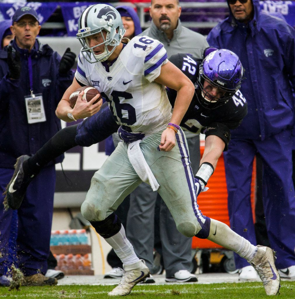 TCU Horned Frogs linebacker Ty Summers (42) tackles Kansas State Wildcats quarterback Jesse Ertz (16) during the third quarter of their game on Saturday, December 3, 2016 at Amon G. Carter Stadium in Fort Worth. (Ashley Landis/The Dallas Morning News)