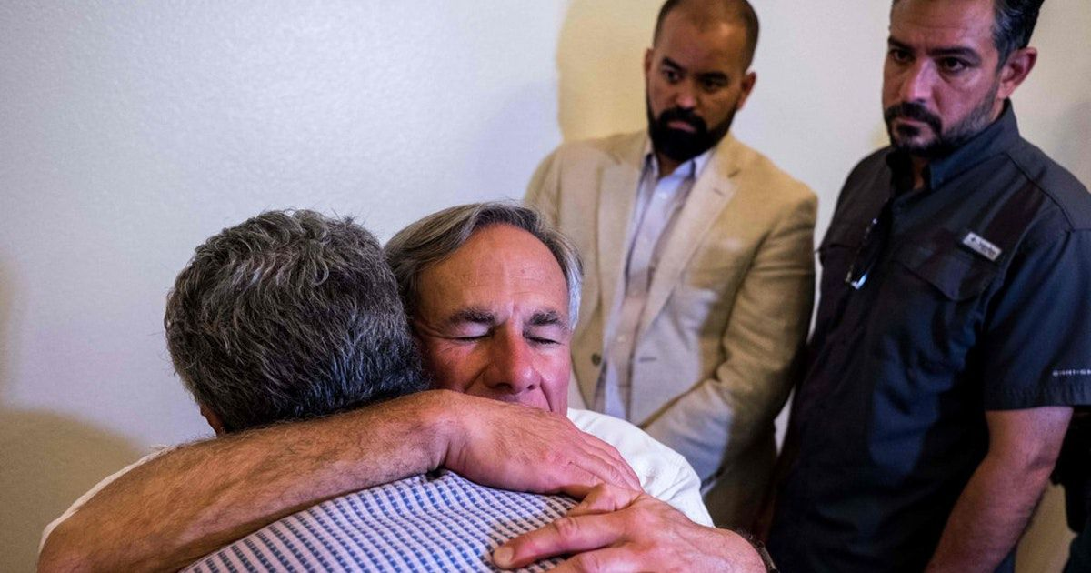 Gov. Greg Abbott, shown hugging an El Paso resident after a vigil at a Catholic church there last week to honor 22 people killed in an Aug. 3 mass shooting, said Wednesday he wants a new domestic terrorism task force 'to combat these hateful acts and extremism in Texas.'
