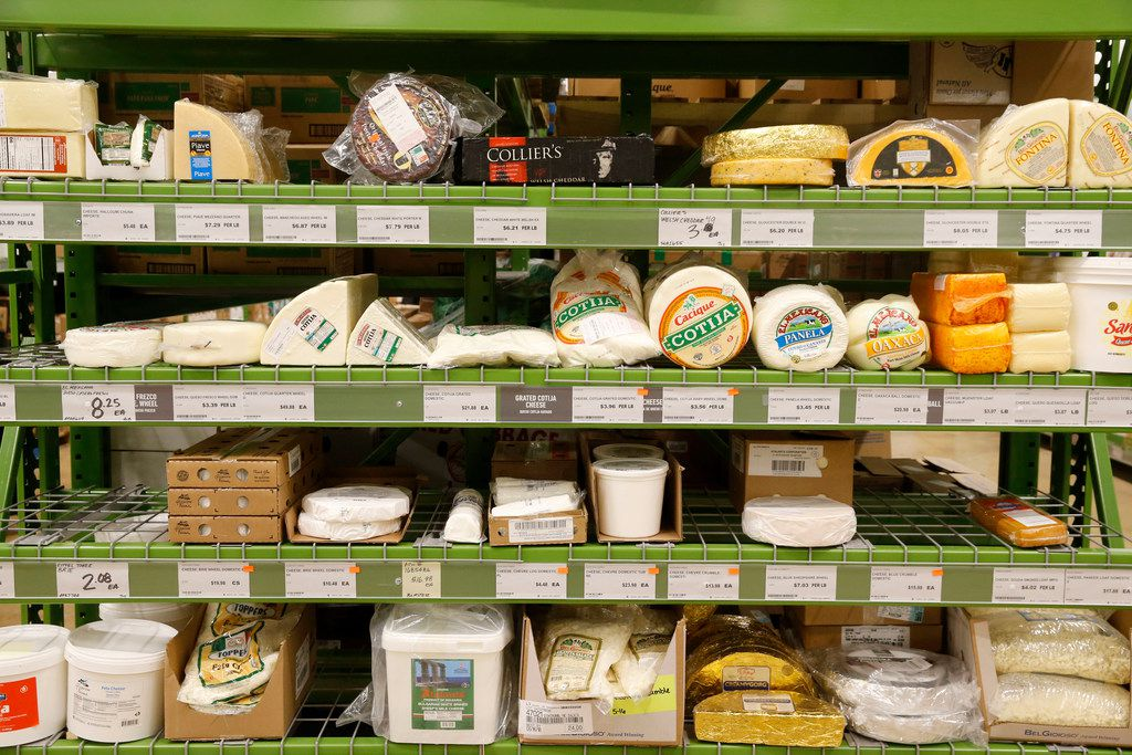 Cheeses in bulk sold at Chef'store in Farmers Branch