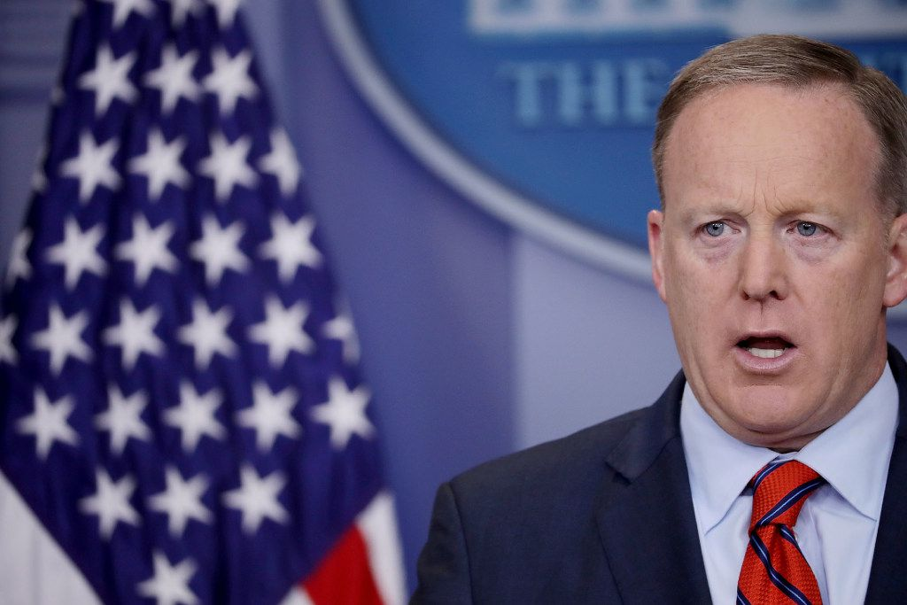 """White House Press Secretary Sean Spicer answers reporters' questions during the daily news conference in the Brady Press Briefing Room at the White House April 11, 2017 in Washington, D.C. Spicer said that different from Syrian President Bashar Al-Assad, Nazi leader Adolph Hitler did not use chemical weapons, saying, """"I think when you come to sarin gas, he was not using the gas on his own people the same way that Assad is doing.""""  (Photo by Chip Somodevilla/Getty Images)"""