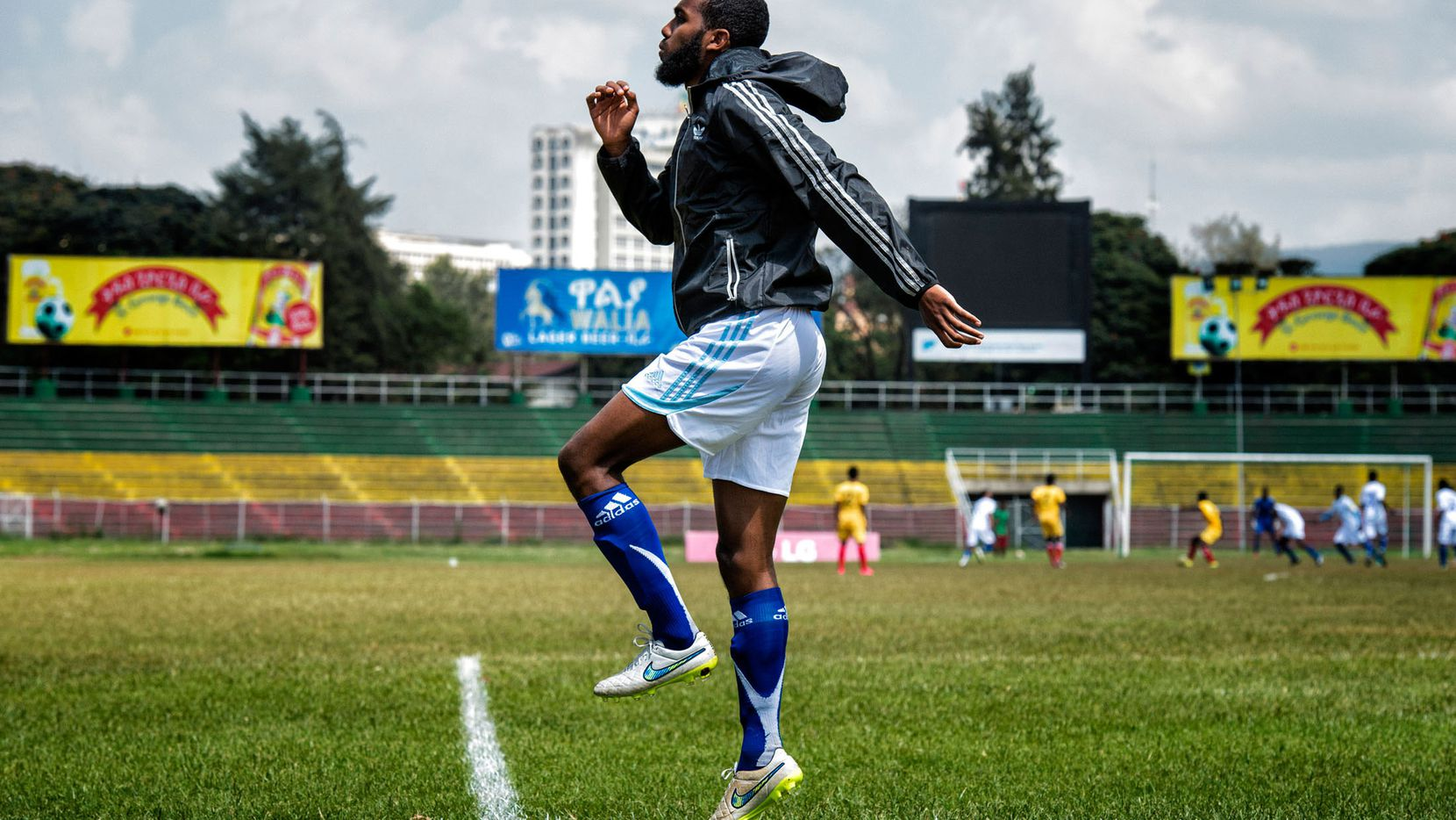 Somalia substitute Mohamud Ali warms up during a game against Ethiopia