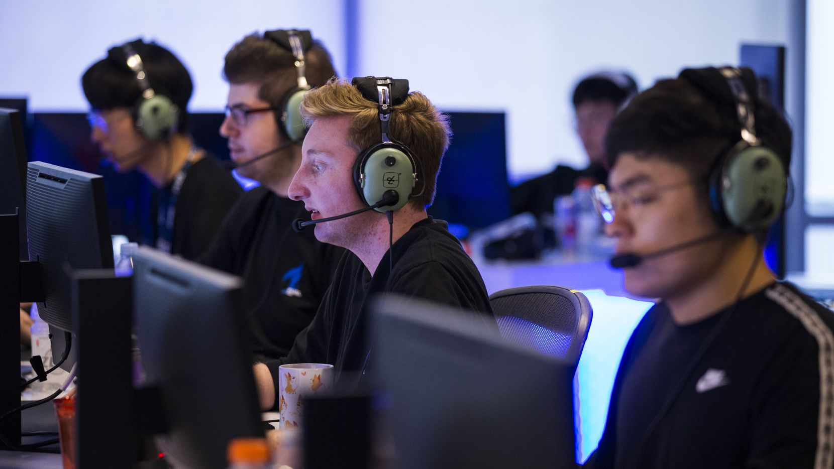 "FILE - Dallas Fuel's ""NotE"" Lucas Meissner (center) practices with other players on Wednesday, Jan. 29, 2020, at Envy Gaming headquarters in Dallas."